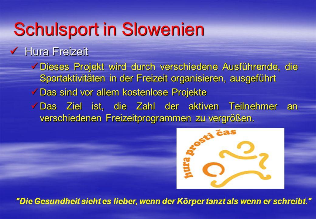 Schulsport in Slowenien Hura Freizeit Hura Freizeit Dieses Projekt wird durch verschiedene Ausführende, die Sportaktivitäten in der Freizeit organisie