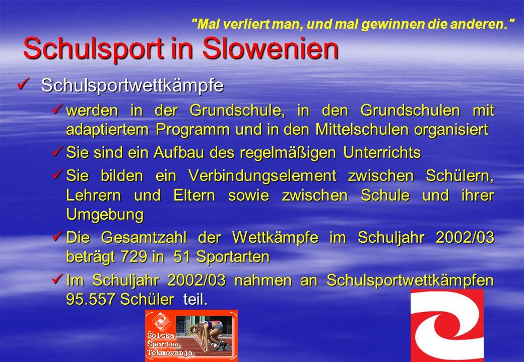 Schulsport in Slowenien Schulsportwettkämpfe Schulsportwettkämpfe werden in der Grundschule, in den Grundschulen mit adaptiertem Programm und in den M