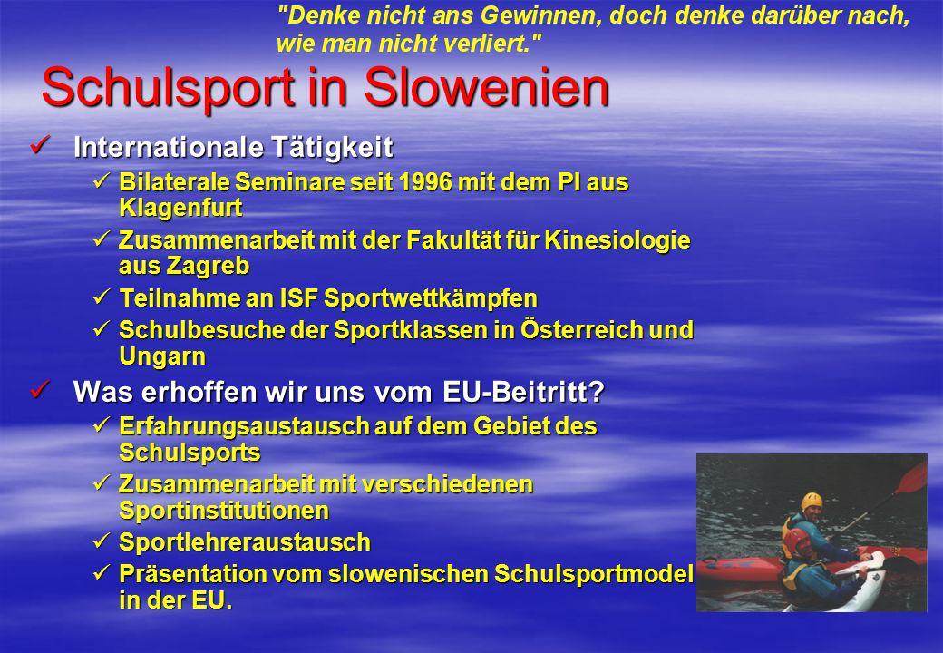 Schulsport in Slowenien Internationale Tätigkeit Internationale Tätigkeit Bilaterale Seminare seit 1996 mit dem PI aus Klagenfurt Bilaterale Seminare