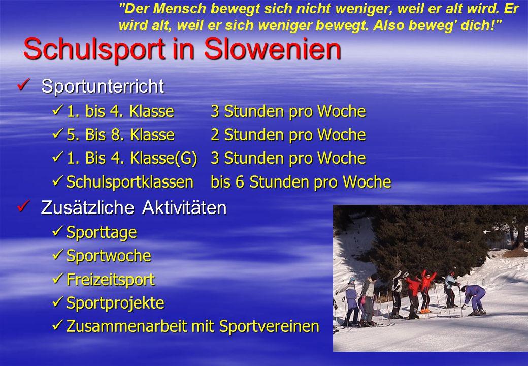 Schulsport in Slowenien Sportunterricht Sportunterricht 1. bis 4. Klasse 3 Stunden pro Woche 1. bis 4. Klasse 3 Stunden pro Woche 5. Bis 8. Klasse2 St