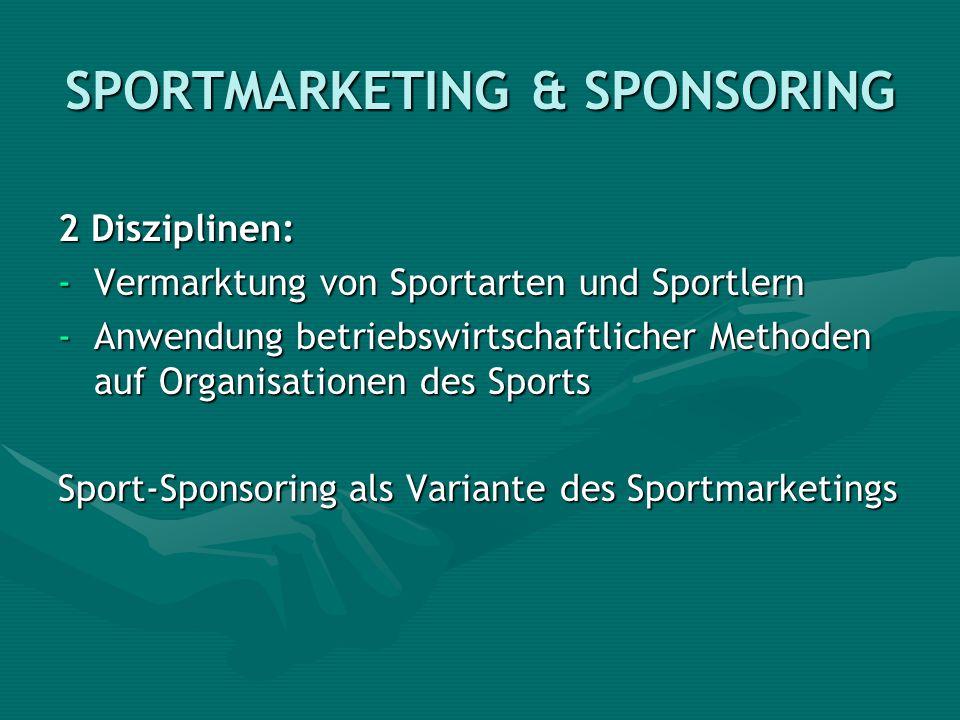 SPORTMARKETING & SPONSORING 2 Disziplinen: -Vermarktung von Sportarten und Sportlern -Anwendung betriebswirtschaftlicher Methoden auf Organisationen d