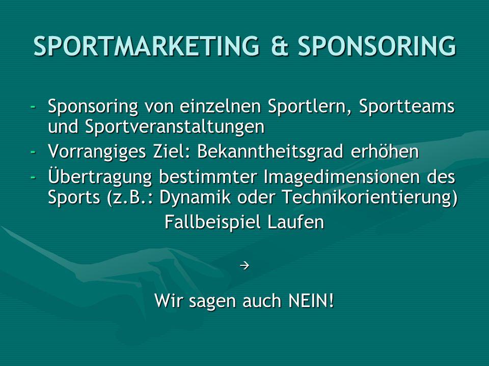 SPORTMARKETING & SPONSORING -Sponsoring von einzelnen Sportlern, Sportteams und Sportveranstaltungen -Vorrangiges Ziel: Bekanntheitsgrad erhöhen -Über