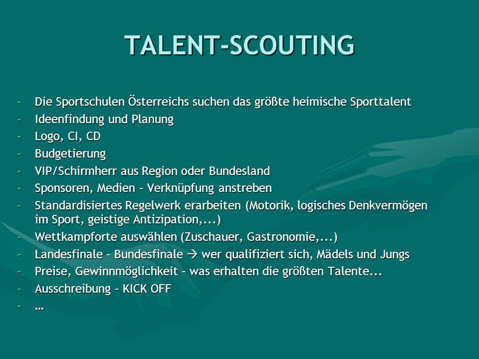 TALENT-SCOUTING -Die Sportschulen Österreichs suchen das größte heimische Sporttalent -Ideenfindung und Planung -Logo, CI, CD -Budgetierung -VIP/Schir