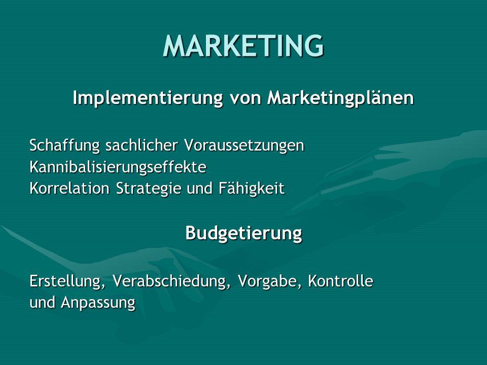 MARKETING Implementierung von Marketingplänen Schaffung sachlicher Voraussetzungen Kannibalisierungseffekte Korrelation Strategie und Fähigkeit Budget