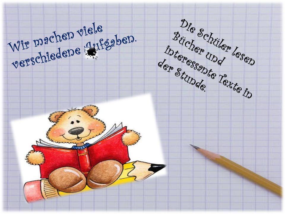 Die Kinder schreiben Diktate in meinem Lieblingsfach.