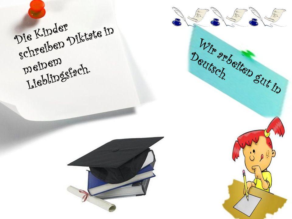 Die Schüler schreiben Vorträge und Hausaufsätze..