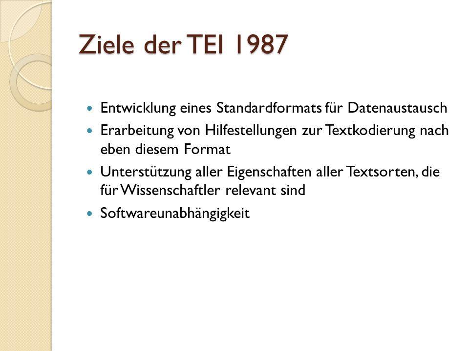 Ziele der TEI 1987 Entwicklung eines Standardformats für Datenaustausch Erarbeitung von Hilfestellungen zur Textkodierung nach eben diesem Format Unte