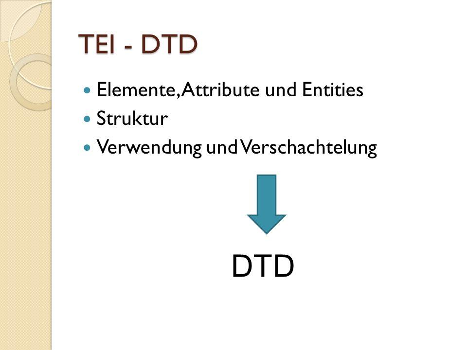 TEI - DTD Elemente, Attribute und Entities Struktur Verwendung und Verschachtelung DTD