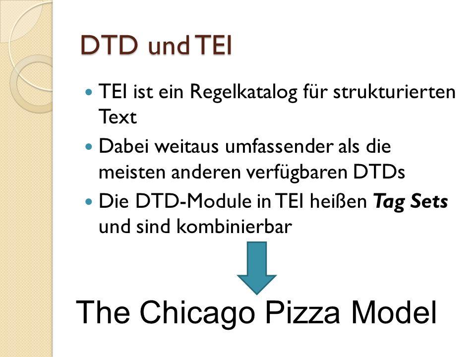 DTD und TEI TEI ist ein Regelkatalog für strukturierten Text Dabei weitaus umfassender als die meisten anderen verfügbaren DTDs Die DTD-Module in TEI