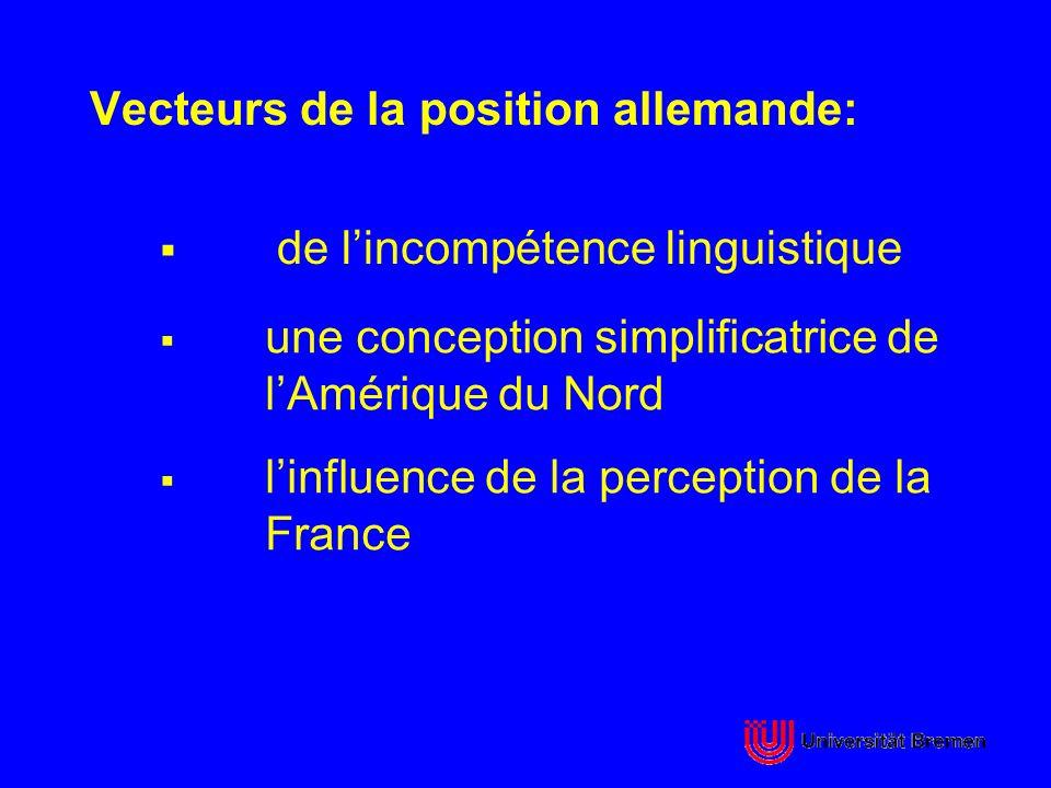 Vecteurs de la position allemande: de lincompétence linguistique une conception simplificatrice de lAmérique du Nord linfluence de la perception de la