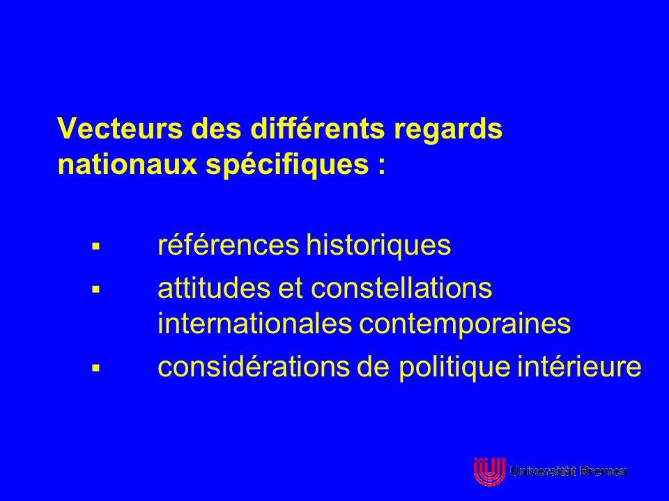 Vecteurs des différents regards nationaux spécifiques : références historiques attitudes et constellations internationales contemporaines considératio