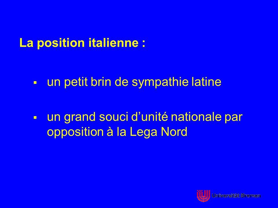 La position italienne : un petit brin de sympathie latine un grand souci dunité nationale par opposition à la Lega Nord