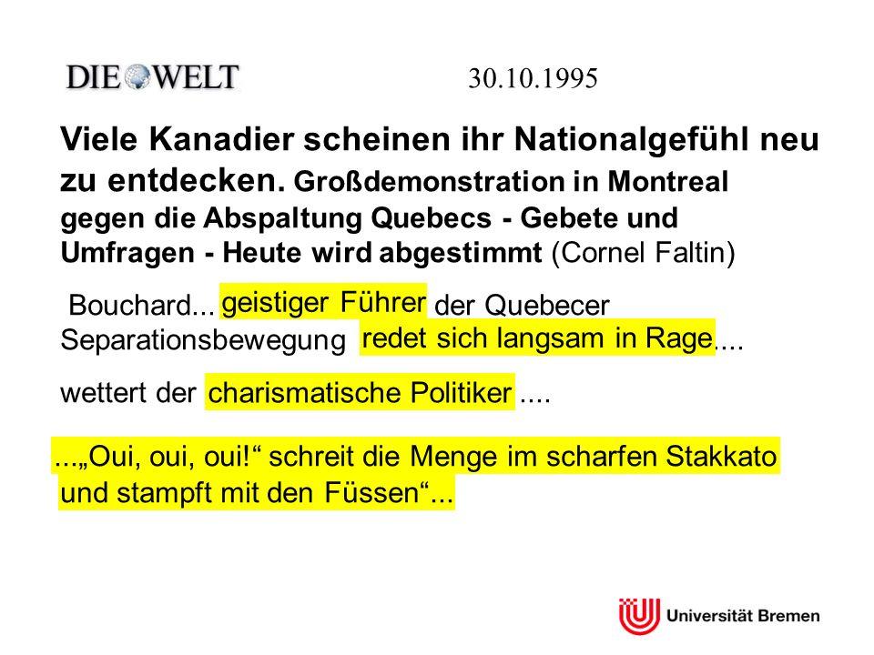 30.10.1995 Viele Kanadier scheinen ihr Nationalgefühl neu zu entdecken. Großdemonstration in Montreal gegen die Abspaltung Quebecs - Gebete und Umfrag