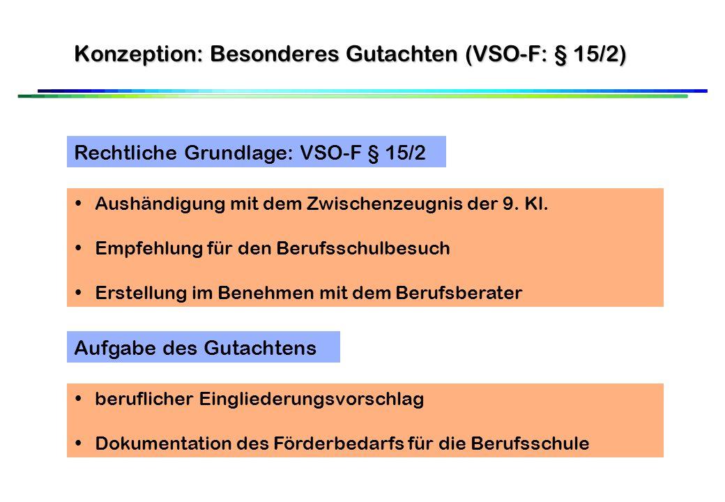 Konzeption: Besonderes Gutachten (VSO-F: § 15/2) Rechtliche Grundlage: VSO-F § 15/2 Aushändigung mit dem Zwischenzeugnis der 9.