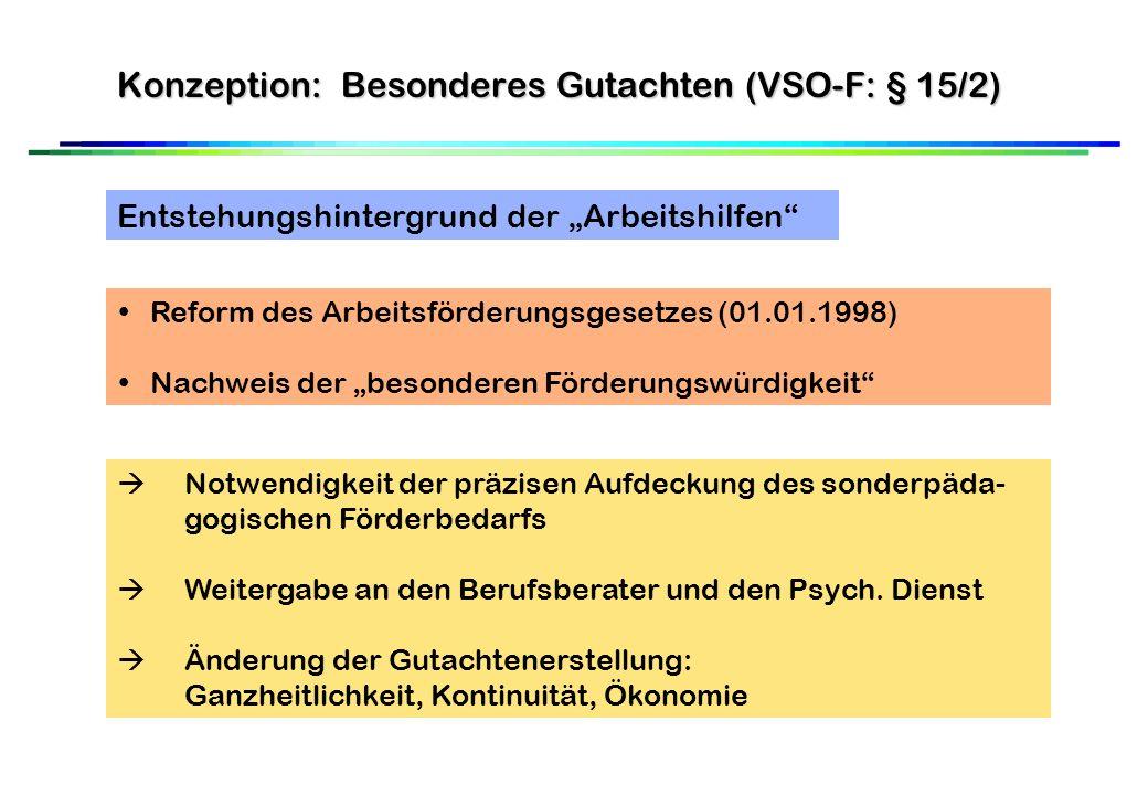 Konzeption: Besonderes Gutachten (VSO-F: § 15/2) Entstehungshintergrund der Arbeitshilfen Reform des Arbeitsförderungsgesetzes (01.01.1998) Nachweis der besonderen Förderungswürdigkeit Notwendigkeit der präzisen Aufdeckung des sonderpäda- gogischen Förderbedarfs Weitergabe an den Berufsberater und den Psych.