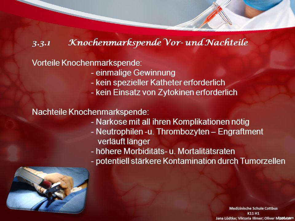 3.3.1 Knochenmarkspende Vor- und Nachteile Vorteile Knochenmarkspende: - einmalige Gewinnung - kein spezieller Katheter erforderlich - kein Einsatz vo