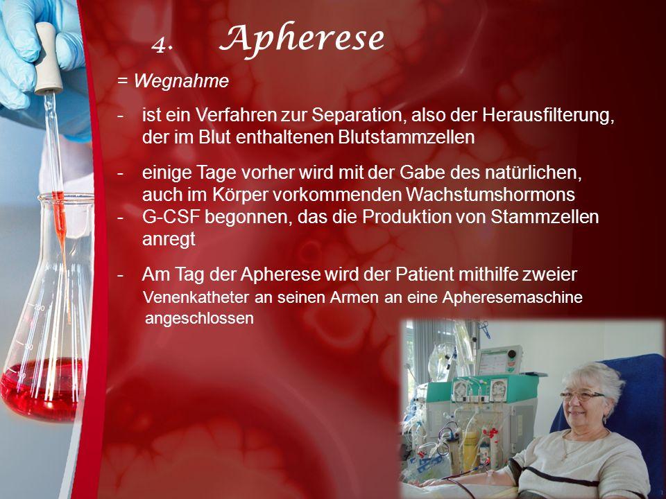 = Wegnahme -ist ein Verfahren zur Separation, also der Herausfilterung, der im Blut enthaltenen Blutstammzellen -einige Tage vorher wird mit der Gabe