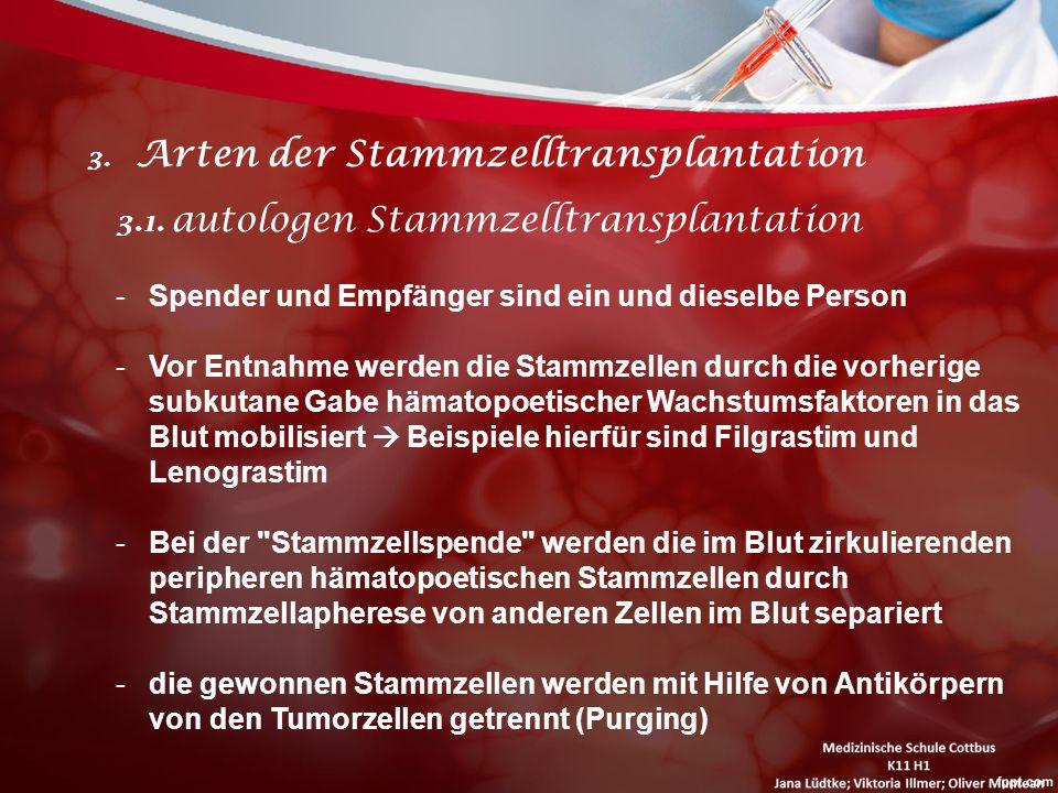 3. Arten der Stammzelltransplantation 3.1. autologen Stammzelltransplantation -Spender und Empfänger sind ein und dieselbe Person -Vor Entnahme werden