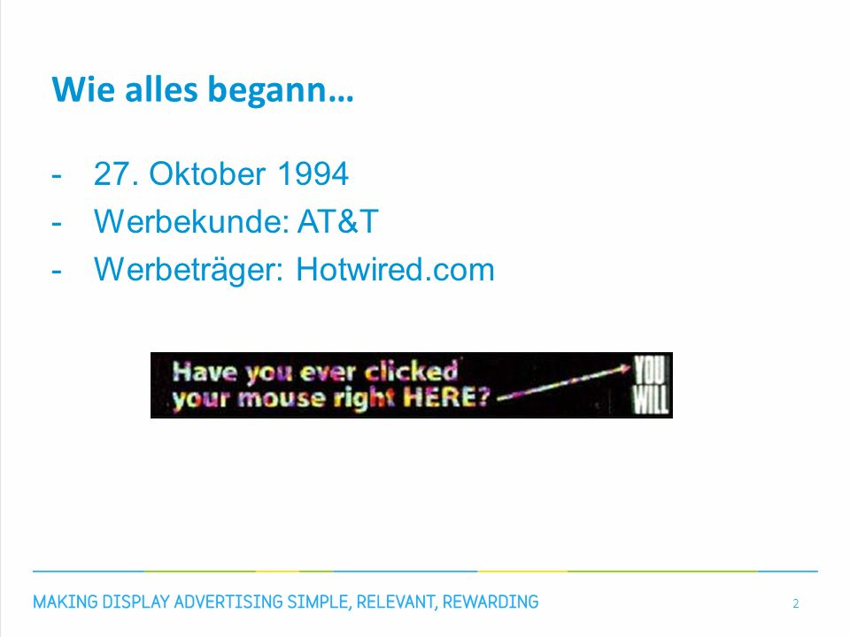 Wie alles begann… -27. Oktober 1994 -Werbekunde: AT&T -Werbeträger: Hotwired.com 2