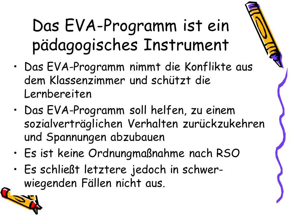 Das EVA-Programm ist ein pädagogisches Instrument Das EVA-Programm nimmt die Konflikte aus dem Klassenzimmer und schützt die Lernbereiten Das EVA-Prog