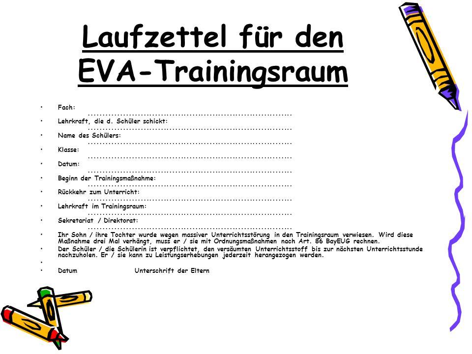 Laufzettel für den EVA-Trainingsraum Fach:....................................................................... Lehrkraft, die d. Schüler schickt:..