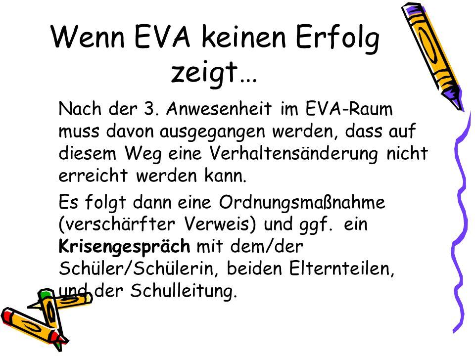 Wenn EVA keinen Erfolg zeigt… Nach der 3. Anwesenheit im EVA-Raum muss davon ausgegangen werden, dass auf diesem Weg eine Verhaltensänderung nicht err