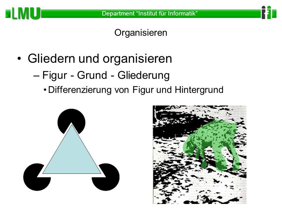 Department Institut für Informatik Organisieren Gliedern und organisieren –Figur - Grund - Gliederung Differenzierung von Figur und Hintergrund