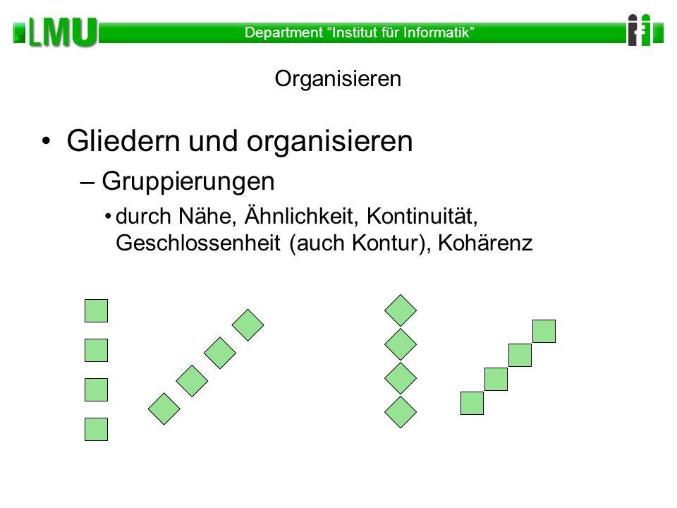 Department Institut für Informatik Organisieren Gliedern und organisieren –Gruppierungen durch Nähe, Ähnlichkeit, Kontinuität, Geschlossenheit (auch K