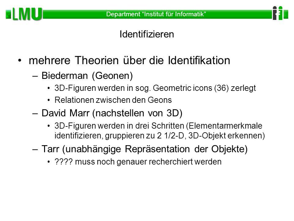 Department Institut für Informatik Identifizieren mehrere Theorien über die Identifikation –Biederman (Geonen) 3D-Figuren werden in sog. Geometric ico