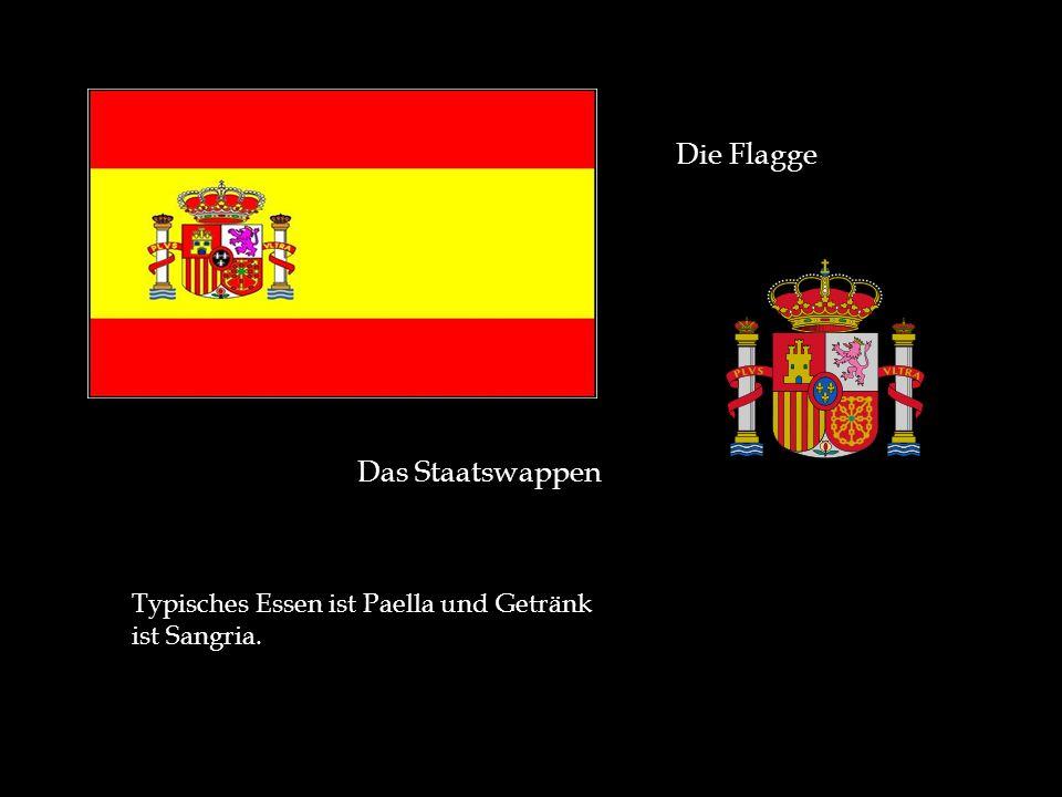 Die Flagge Das Staatswappen Typisches Essen ist Paella und Getränk ist Sangria.