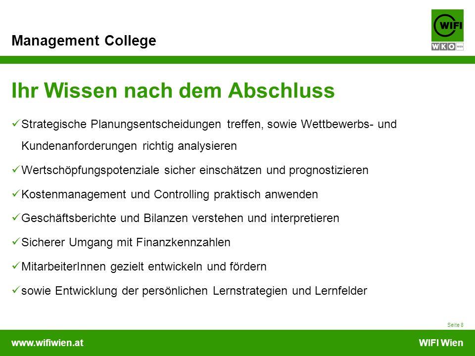 www.wifiwien.atWIFI Wien Management College Abschluss Prüfungsabschnitte 1.Ihr Wissenscheck a.Beantwortung von Theoriefragen aus dem vorgetragenen Lehrinhalt am Ende des jeweiligen Moduls b.Erarbeiten von Fallstudien, Arbeitsaufträgen und Reflexionen 2.Verfassen Ihrer schriftlichen Projektarbeit 3.Mündliche Abschlussprüfung a.Präsentation Ihrer Projektarbeit b.Verteidigung/Argumentation Ihrer Projektarbeit Benotung mit sehr gutem Erfolg bestanden Notendurchschnitt 1,5 mit gutem Erfolg bestanden Notendurchschnitt 1,6 – 2,0 mit Erfolg bestanden Notendurchschnitt > 2,0 Zeugnis und Diplom Seite 9