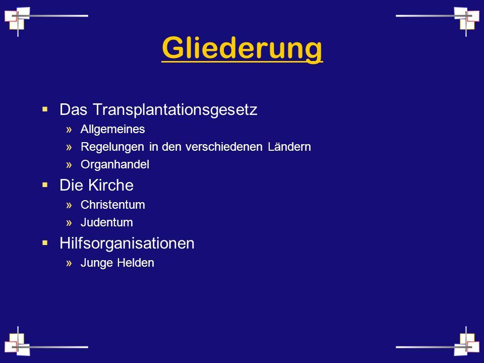 Gliederung Das Transplantationsgesetz »Allgemeines »Regelungen in den verschiedenen Ländern »Organhandel Die Kirche »Christentum »Judentum Hilfsorganisationen »Junge Helden