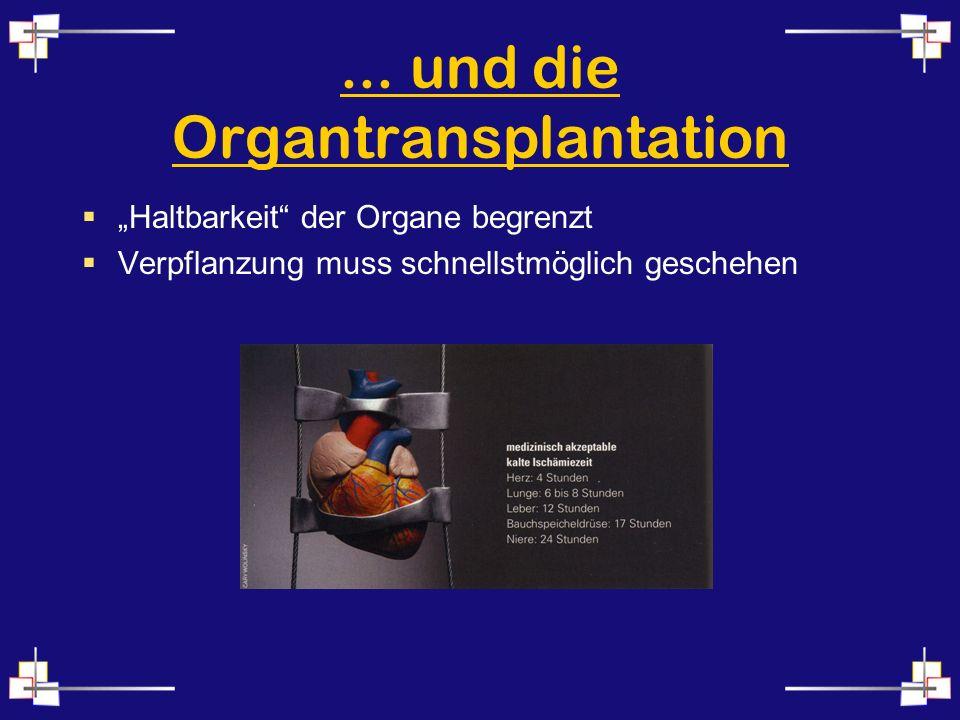... und die Organtransplantation Haltbarkeit der Organe begrenzt Verpflanzung muss schnellstmöglich geschehen