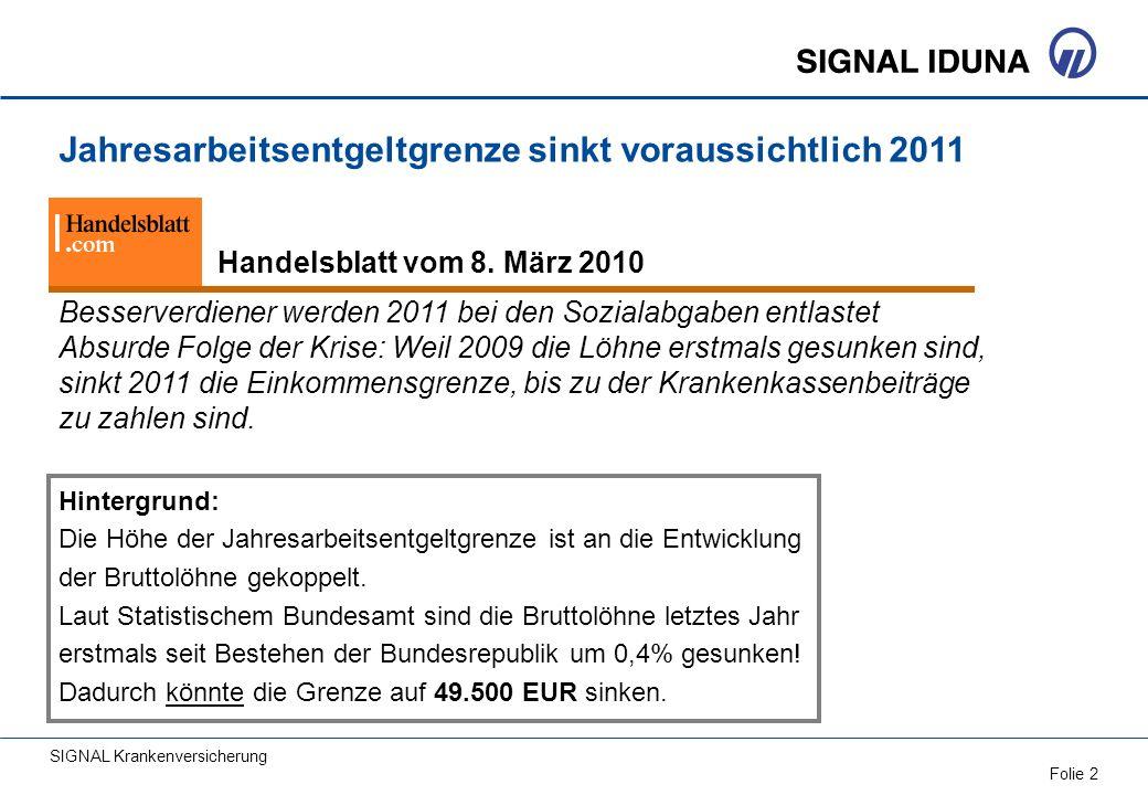 SIGNAL Krankenversicherung Folie 2 Besserverdiener werden 2011 bei den Sozialabgaben entlastet Absurde Folge der Krise: Weil 2009 die Löhne erstmals g