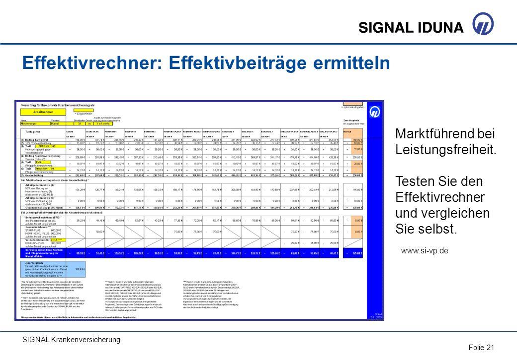 SIGNAL Krankenversicherung Folie 21 Effektivrechner: Effektivbeiträge ermitteln Marktführend bei Leistungsfreiheit. Testen Sie den Effektivrechner und