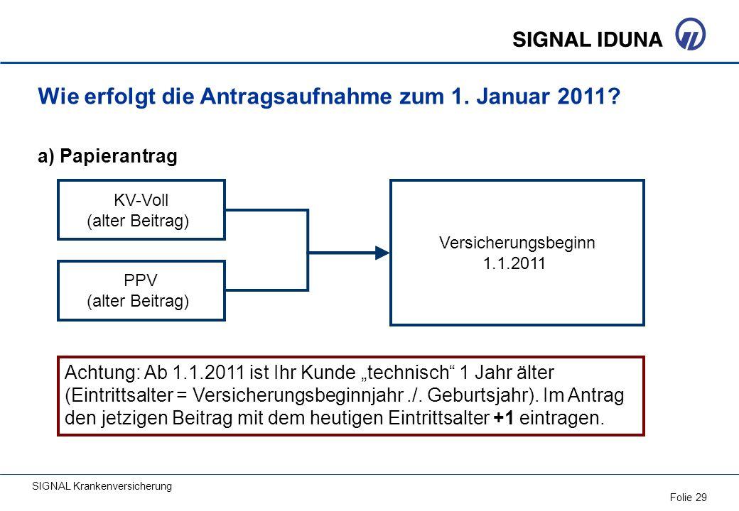 SIGNAL Krankenversicherung Folie 29 PPV (alter Beitrag) Achtung: Ab 1.1.2011 ist Ihr Kunde technisch 1 Jahr älter (Eintrittsalter = Versicherungsbegin