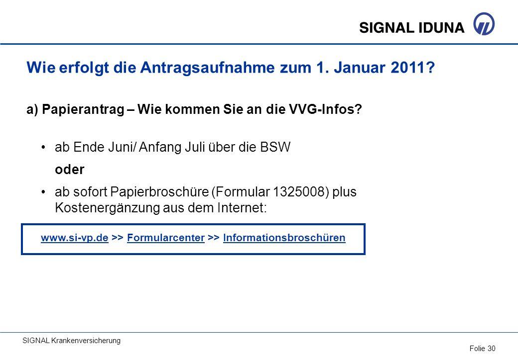 SIGNAL Krankenversicherung Folie 30 Wie erfolgt die Antragsaufnahme zum 1. Januar 2011? a) Papierantrag – Wie kommen Sie an die VVG-Infos? ab Ende Jun