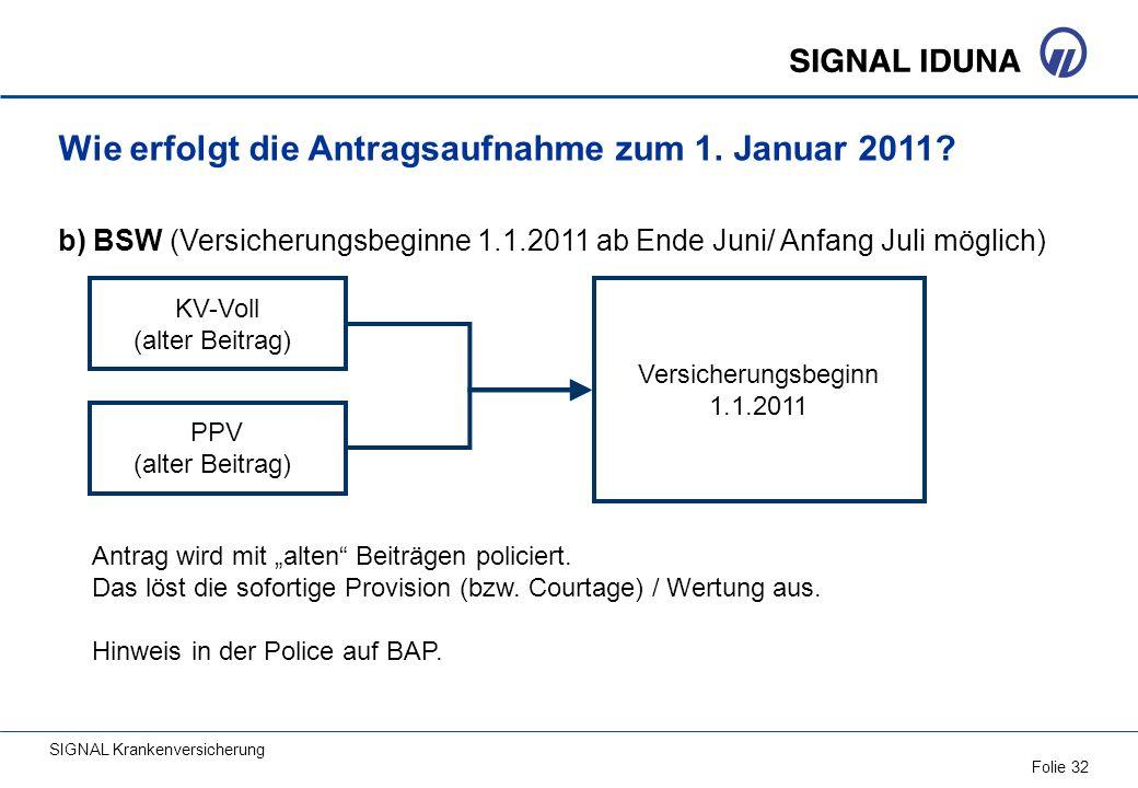 SIGNAL Krankenversicherung Folie 32 PPV (alter Beitrag) Wie erfolgt die Antragsaufnahme zum 1. Januar 2011? b) BSW (Versicherungsbeginne 1.1.2011 ab E