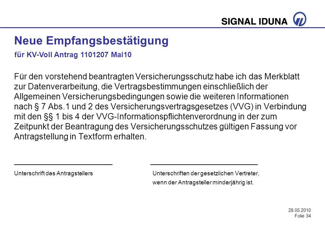 28.05.2010 Folie 34 Für den vorstehend beantragten Versicherungsschutz habe ich das Merkblatt zur Datenverarbeitung, die Vertragsbestimmungen einschli