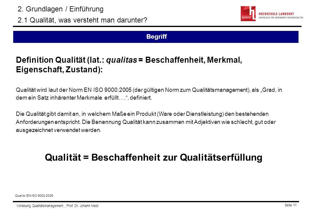 Vorlesung Qualitätsmanagement, Prof. Dr. Johann Neidl Seite 11 Definition Qualität (lat.: qualitas = Beschaffenheit, Merkmal, Eigenschaft, Zustand): Q
