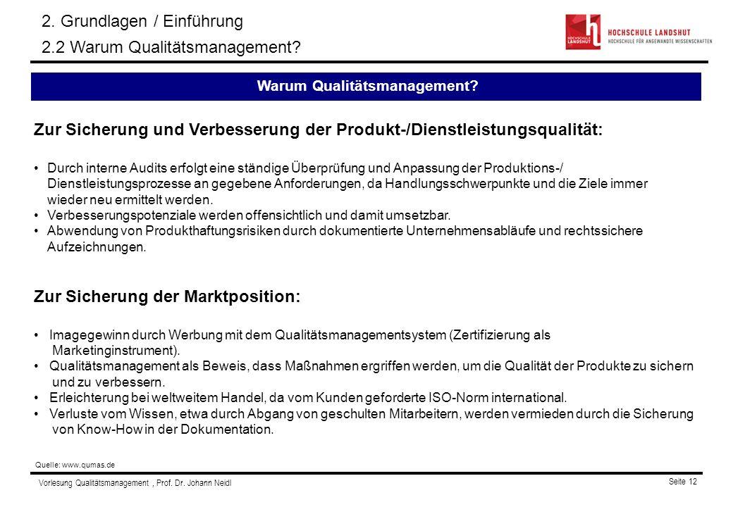 Vorlesung Qualitätsmanagement, Prof. Dr. Johann Neidl Seite 12 Zur Sicherung und Verbesserung der Produkt-/Dienstleistungsqualität: Durch interne Audi