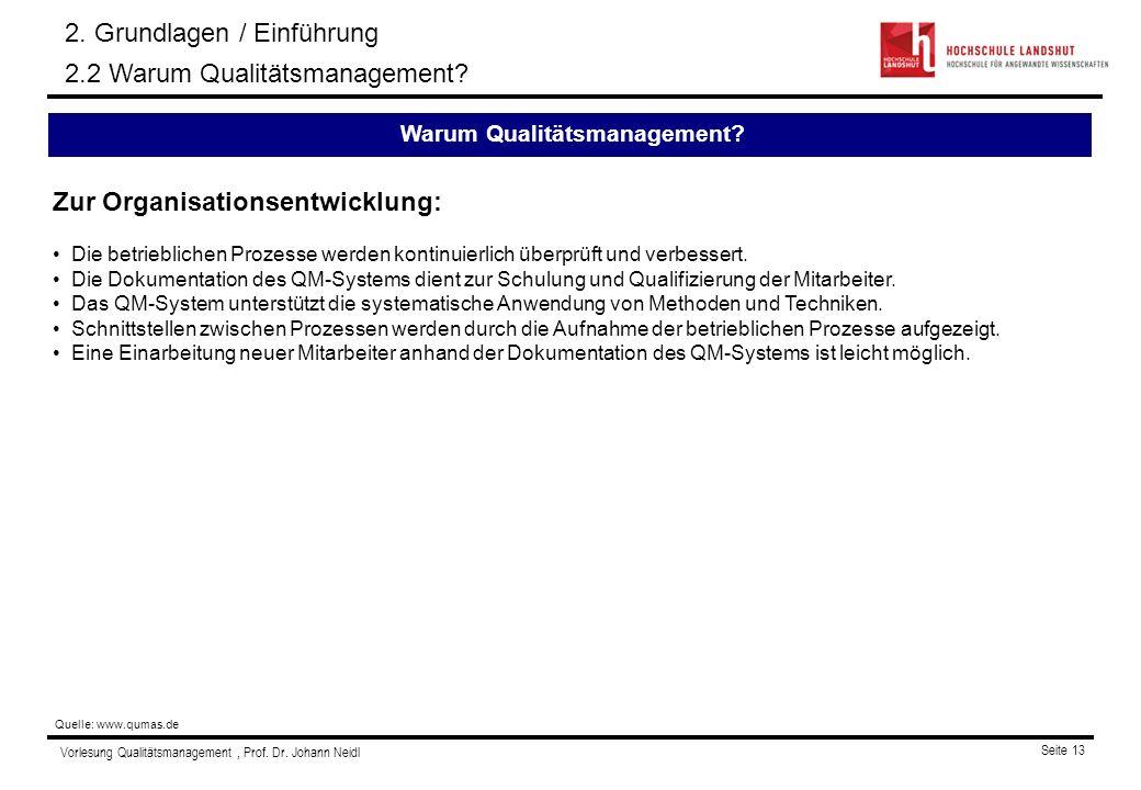 Vorlesung Qualitätsmanagement, Prof. Dr. Johann Neidl Seite 13 Zur Organisationsentwicklung: Die betrieblichen Prozesse werden kontinuierlich überprüf