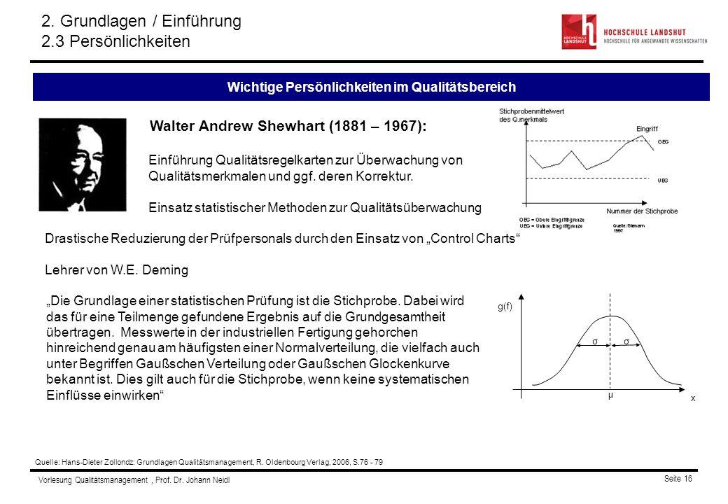 Vorlesung Qualitätsmanagement, Prof. Dr. Johann Neidl Seite 16 Walter Andrew Shewhart (1881 – 1967): Einführung Qualitätsregelkarten zur Überwachung v