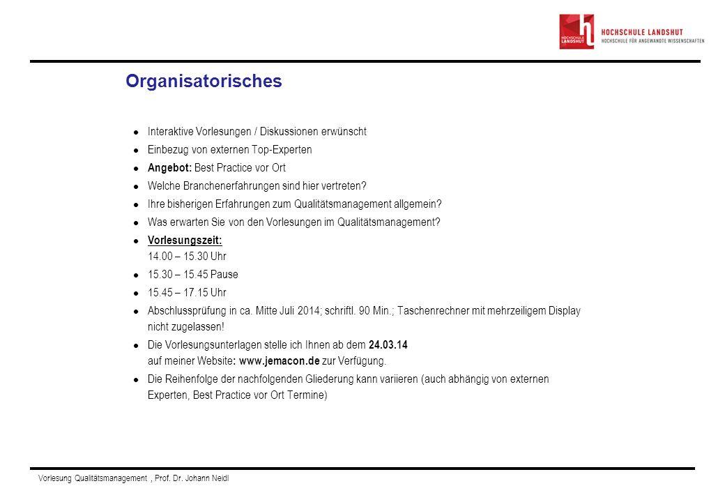Vorlesung Qualitätsmanagement, Prof. Dr. Johann Neidl Persönliche Vorstellung Interaktive Vorlesungen / Diskussionen erwünscht Einbezug von externen T