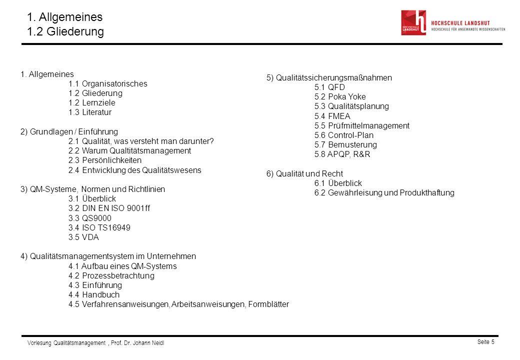 Vorlesung Qualitätsmanagement, Prof. Dr. Johann Neidl Seite 5 Gliederung 1. Allgemeines 1.1 Organisatorisches 1.2 Gliederung 1.2 Lernziele 1.3 Literat