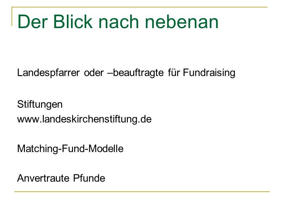 Der Blick nach nebenan Landespfarrer oder –beauftragte für Fundraising Stiftungen www.landeskirchenstiftung.de Matching-Fund-Modelle Anvertraute Pfund