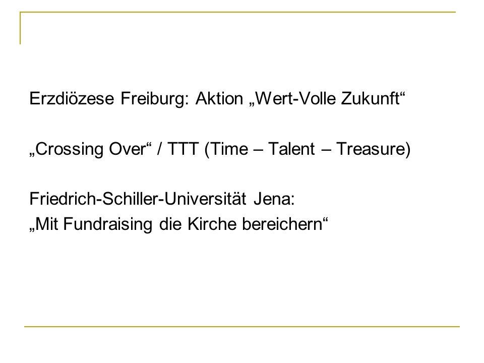 Erzdiözese Freiburg: Aktion Wert-Volle Zukunft Crossing Over / TTT (Time – Talent – Treasure) Friedrich-Schiller-Universität Jena: Mit Fundraising die