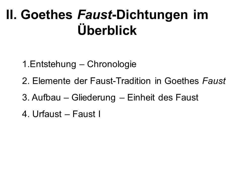 II. Goethes Faust-Dichtungen im Überblick 1.Entstehung – Chronologie 2. Elemente der Faust-Tradition in Goethes Faust 3. Aufbau – Gliederung – Einheit