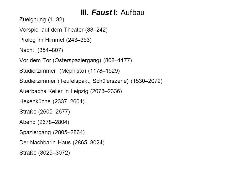 Zueignung (1–32) Vorspiel auf dem Theater (33–242) Prolog im Himmel (243–353) Nacht (354–807) Vor dem Tor (Osterspaziergang) (808–1177) Studierzimmer