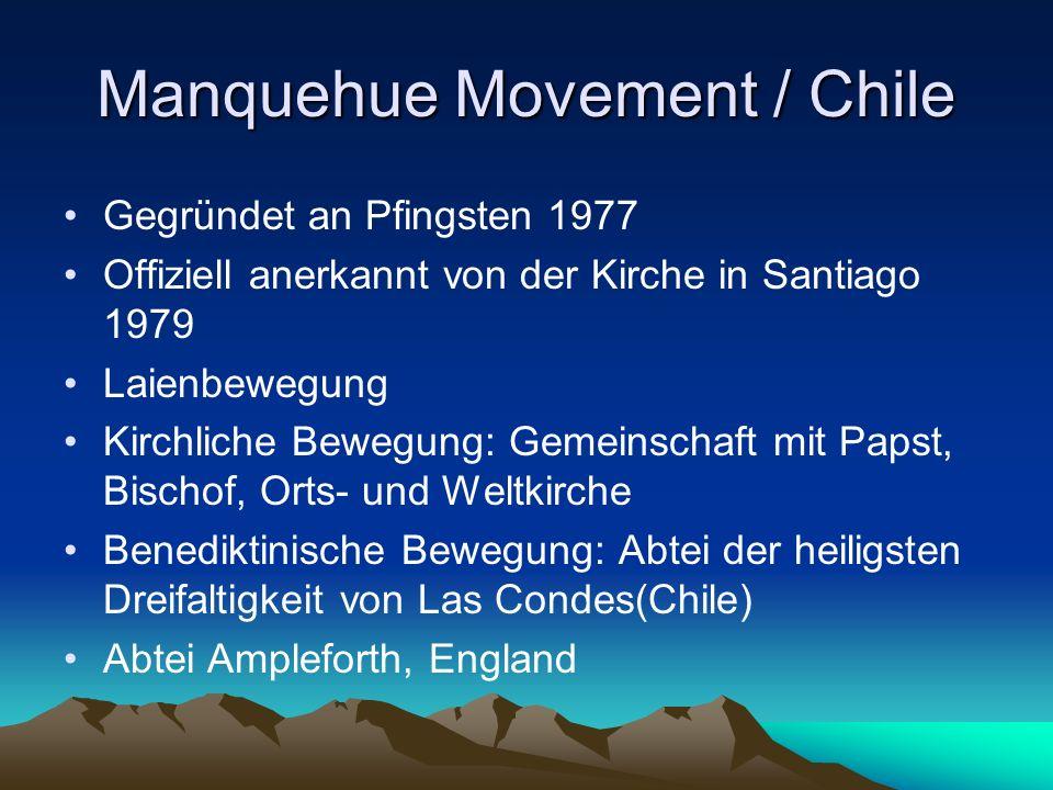 Manquehue Movement / Chile Gegründet an Pfingsten 1977 Offiziell anerkannt von der Kirche in Santiago 1979 Laienbewegung Kirchliche Bewegung: Gemeinsc